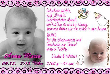 Dankeskarte Mädchen Baby pink