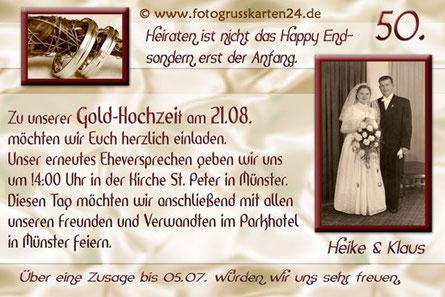 Einladungen zur goldenen Hochzeit Einladungskarten Goldhochzeit