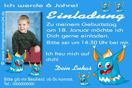 Einladungskarten Kindergeburtstag Monster