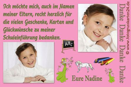 Dankeskarte Einschulung rosa mit Pferd
