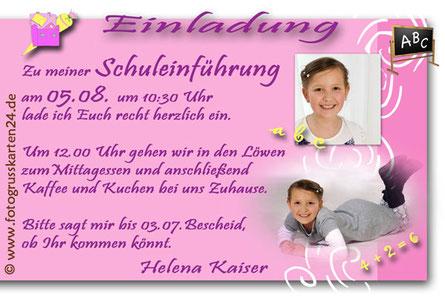 rosa Einladungskarte zur Einschulung mit Foto