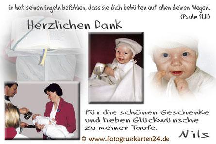 Taufe Dankekarten mit Foto Danksagungskarten zur Taufe