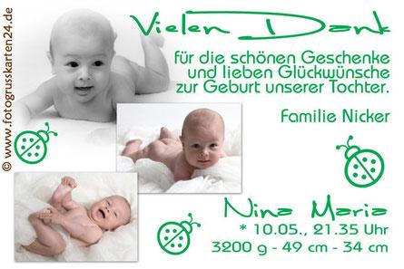 Dankeskarte Baby Geburt grün