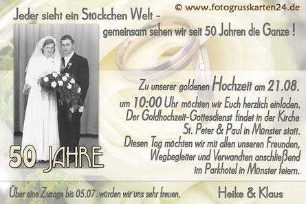 Einladungskarte zur goldenen Hochzeit 50 Jahre verheiratet