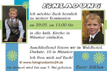 Kommunionseinladungen Einladungskarten Erstkommunion mit Foto