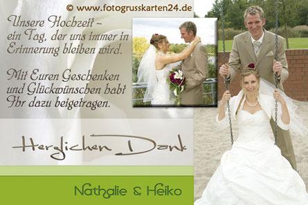 Danksagungskarte Hochzeit Dankeskarte Trauung