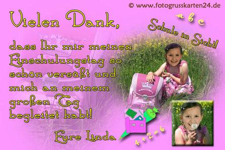Dankeskarte Einschulung rosa für Mädchen