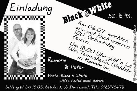 Black & White Einladungen Geburtstag Einladungskarten