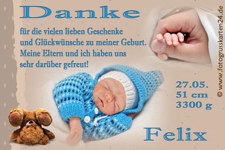 Babykarten zur Geburt Danksagung