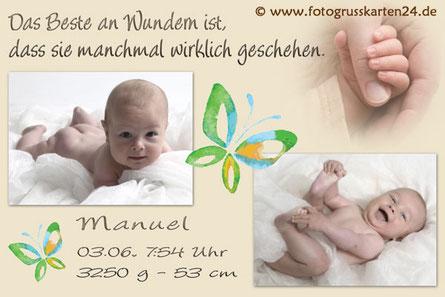 Geburtsanzeigen Babykarten beige Jungen