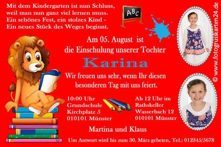 Einladungskarte Schuleinführung Leselöwe
