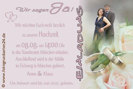 Hochzeit Einladung Trauung Einladungskarten