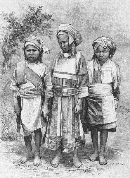 Petites filles gni. Paul VIAL (1855-1917) : Les Gni ou Gni-Pa, tribu lolote du Yun-nan. Les Missions catholiques, Lyon, tome XXV, 1893; tome XXVI, 1894.