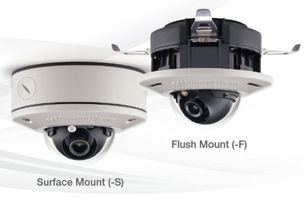 MicroDome® G2 IP Megapixel Cameras von Arecont Vision (Abb. links - Aufputzmontage / Abb. rechts - Einbaumontage), presented by SafeTech