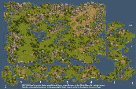 Alle Vorkommen der Hauptinsel und auf dem Archipel. Anklicken zum Vergrößern.