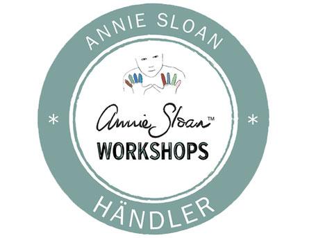 Auf dem Foto sieht man das Annie Sloan Workshop Logo für alle Annie Sloan Händler