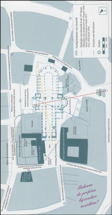 Plan van de ONZE-LIEVE-VROUWE KATHEDRAAL VAN DOORNIK (Mariage, F., 2014) met door mij ingetekende energielijnen.