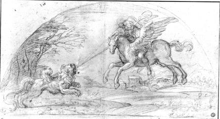 Annibale Carracci, 16e eeuw - Bellerophon vecht met de Chimaera.