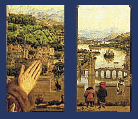 ******** Details 'De Rechteroever' en 'de Schelde'.  ******** Details uit Jan van Eyck (ca. 1435) - De Madonna van kanselier  Rolin. Publiek domein via Wikimedia Commons.