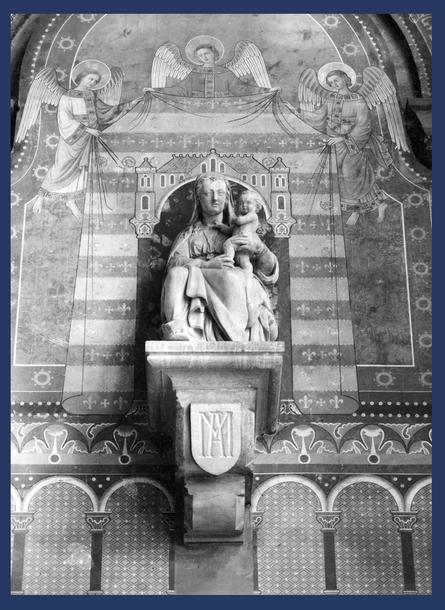 'Madonna onder het baldakijn'. Op de turquoise energielijn,  onder 'Het Heilige Jeruzalem'. Cliché A044762 (1942). Schilder onbekend (1867-1910) van http://balat.kikirpa.be/object/10060476