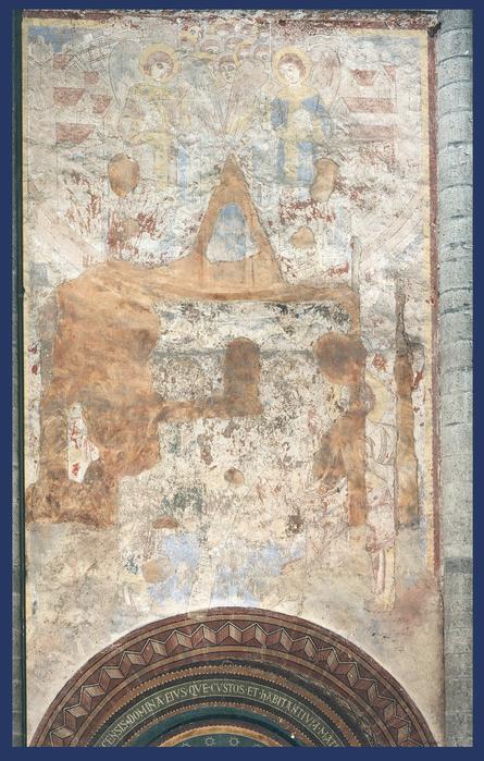 Het Heilige Jeruzalem - Zuidelijk transept Onze-Lieve-Vrouwekerk.  Cliché KN005000. Schilder onbekend (1191-1210) Foto: Jacques Declercq (1995) van http://balat.kikirpa.be/object/10060473