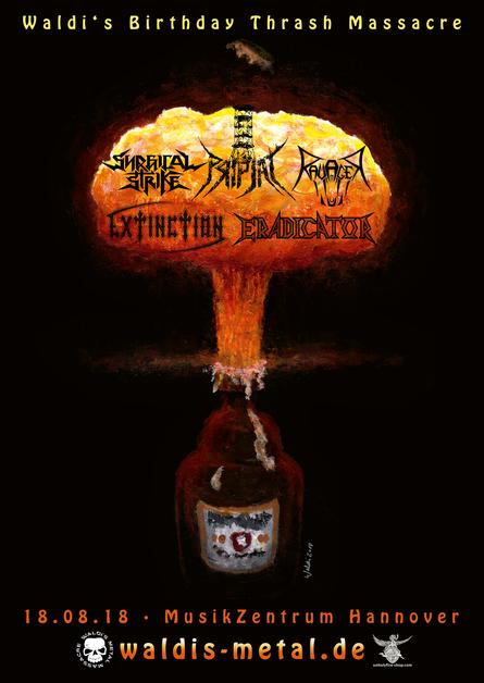 Plakat Waldi's Birthday Thrash Massacre mit Pripjat, Extinction, Skulled, Ravager und Eradicator