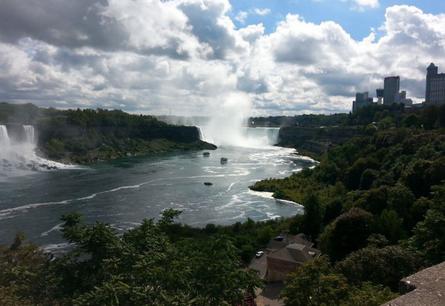 Niagara Fälle. Rechts der kanadische, links der us-amerikanische Teil.