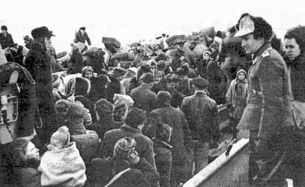 Flüchtlinge in Pillau, 1945