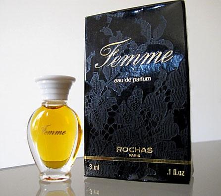 FEMME - EAU DE PARFUM 3 ML - FLACON AMPHORE, SERIGRAPHIE DOREE, BOUCHON PLASTIQUE BLANC, BOÎTE NOIRE
