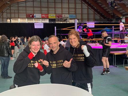 Anita Ruf, Marco Spath (Trainer), Yvonne Birker (BOXING TEAM ITTIGEN) SA 25. Mai 2. LC-CUP 2019 @ FR Biel/Bienne - 2720 Tramelan, weitere 4 Siege für unsere Ladies