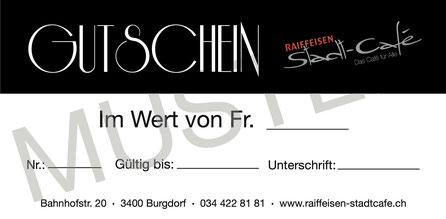 Raiffeisen Stadt-Café - Foto Muster Gutschein Rückseite