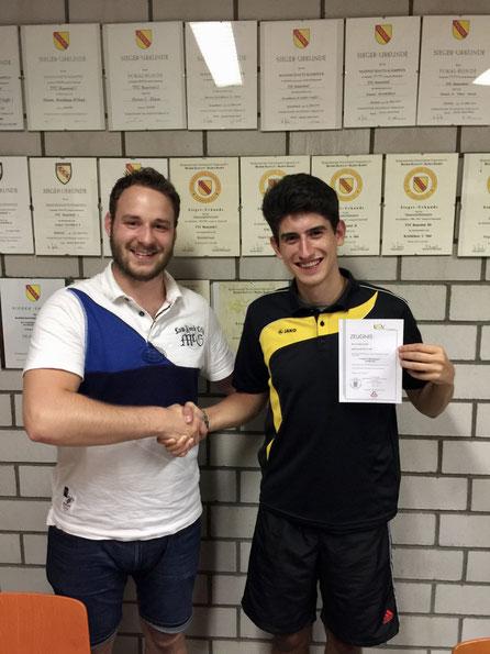 Jugendwart Philipp Zeitvogel (li.) und Neu-Trainer Lukas Tasch