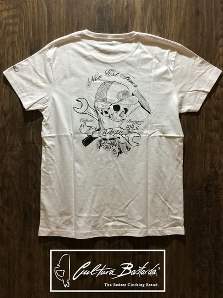 camiseta, blanca, premium, algodon, cafe racer, calavera, hot rod,t-shirt, white, cotton, skull, old school, tee, cultura bastarda,