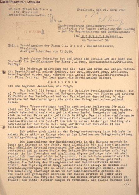 Petition von Karl Friedrich Beug an das Amt für Sequestrierung und Beschlagnahme (Stadtarchiv Stralsund) Seite 1