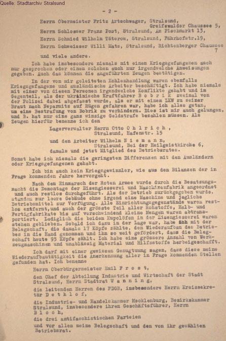 Petition von Karl Friedrich Beug an das Amt für Sequestrierung und Beschlagnahme (Stadtarchiv Stralsund) Seite 2