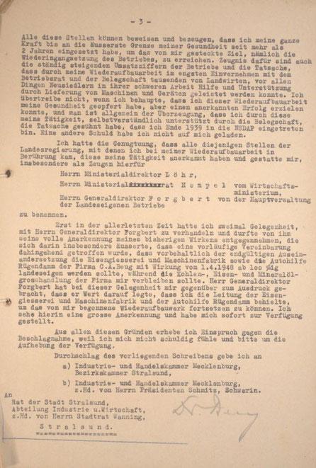 Petition von Karl Friedrich Beug an das Amt für Sequestrierung und Beschlagnahme (Stadtarchiv Stralsund) Seite 3