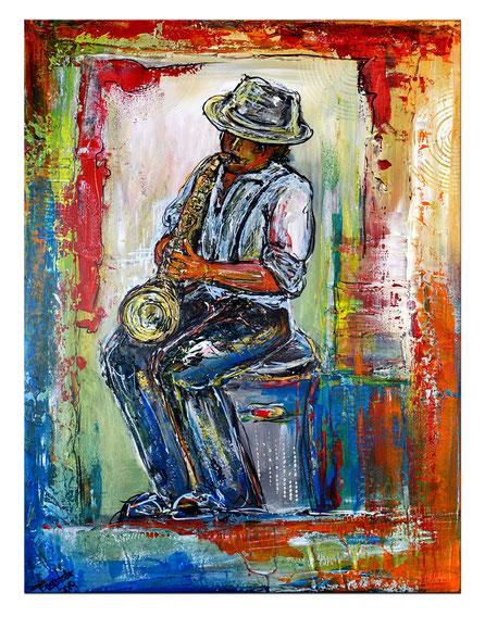 Musiker Gemälde Saxophon Malerei Acrylbild Original handgemalt Sax Spieler 60x80