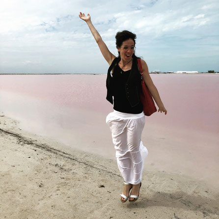 Irene is super happy at the Pink Lake