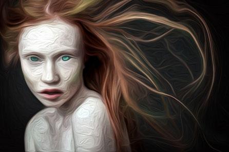 Ölgemälde von einem russischen Model. Grüne augen und rotes Haar.