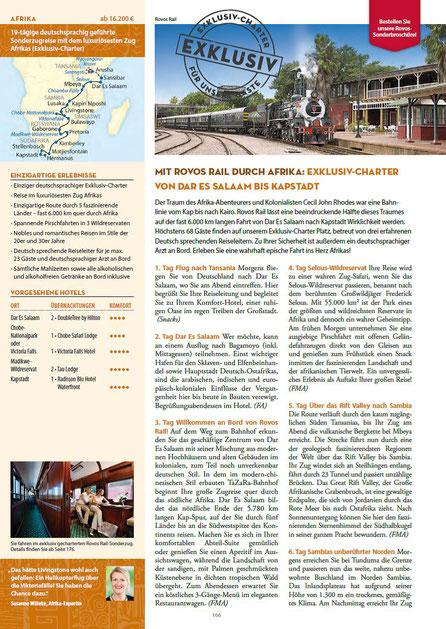 Rovos Rail Fahrten bei Singer Reisen und Versicherungen exklusiv  buchen..