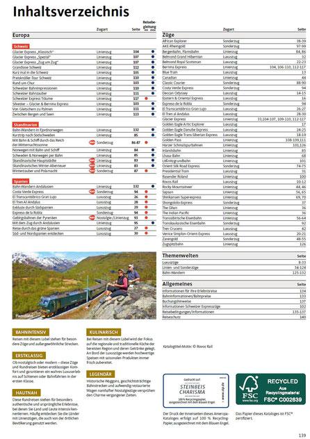 Alle Bahn-Erlebnisreisen Inhaltsverzeichnis