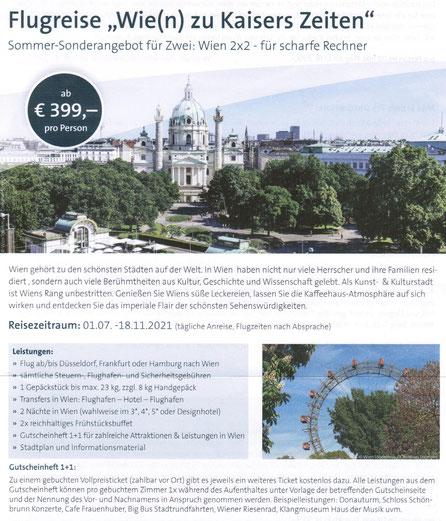 Wien preiswerte Städtereisen mit Singer Reisen und Versicherungen...