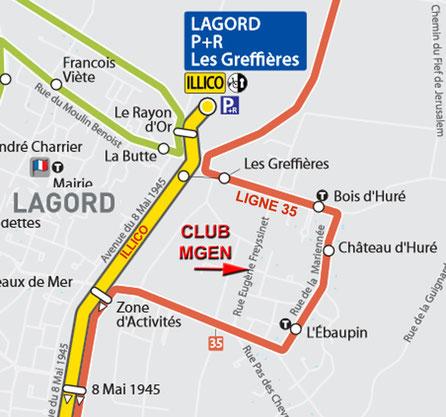 Plan Bus pour rejoindre le Club MGEN 17
