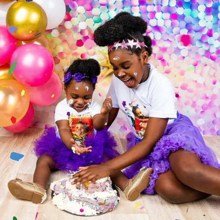 kids with cake