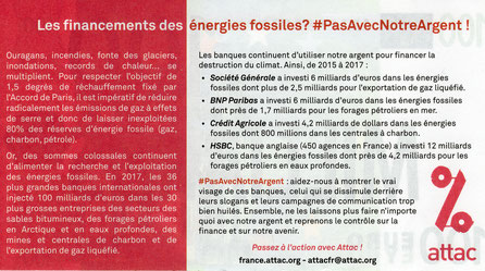 Les financements des énergies fossiles ? #PasAvecNotreArgent ! Document Attac France