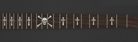 Skull & Celtic Cross - Corian Bones with White Pearloid Crosses