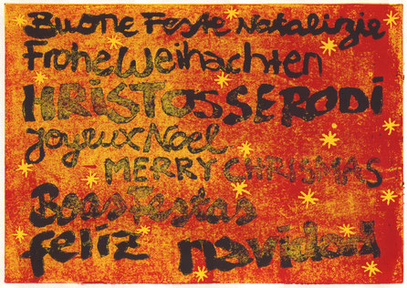 Dezember 2016 Ria »Buone Feste 2016« Linolschnitt (Probe) 14,8 x 21 cm