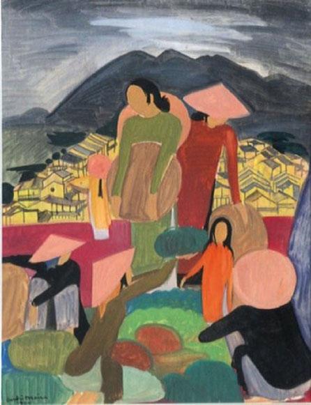 """1950. """"VUE DE DALAT"""". GOUACHE SUR PAPIER 65 x 49cm. SIGNEE, DATEE bas gauche."""