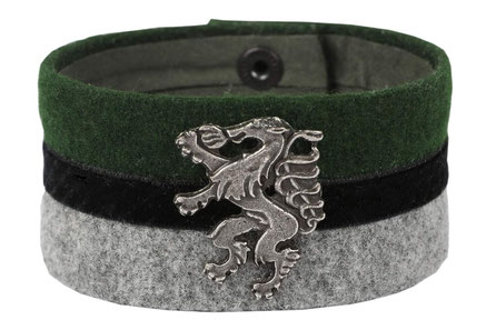 trachtenarmband aus stoff, steirischer panther, breit mit samt, zaumgschwanzt
