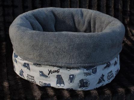 Katzenbett Kuschelsack Leinenlook Sneaker blau Kuschelfleece dunkleres Grau